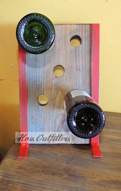Custom Made Metal And Wood Wine Rack - Industrial Wine Rack Bottle Display- Red Wine Storage