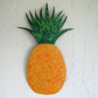 Custom Made Handmade Upcycled Metal Pineapple Wall Art Sculpture