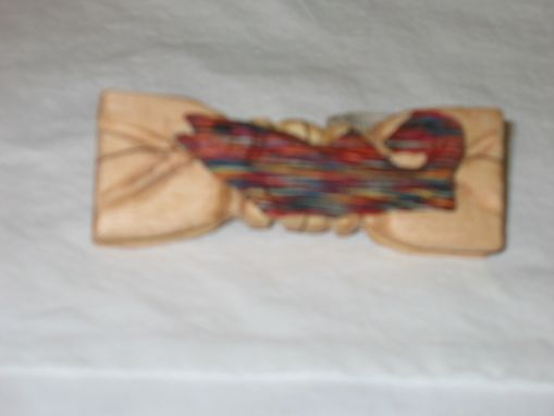 Custom Made Bow Tie - Multi-Colored Fish In Wood