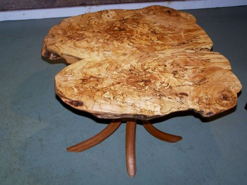 "Custom Made Butterfly Spalted Maple  Burl Table On Cherry ""Swept""™ Legs"