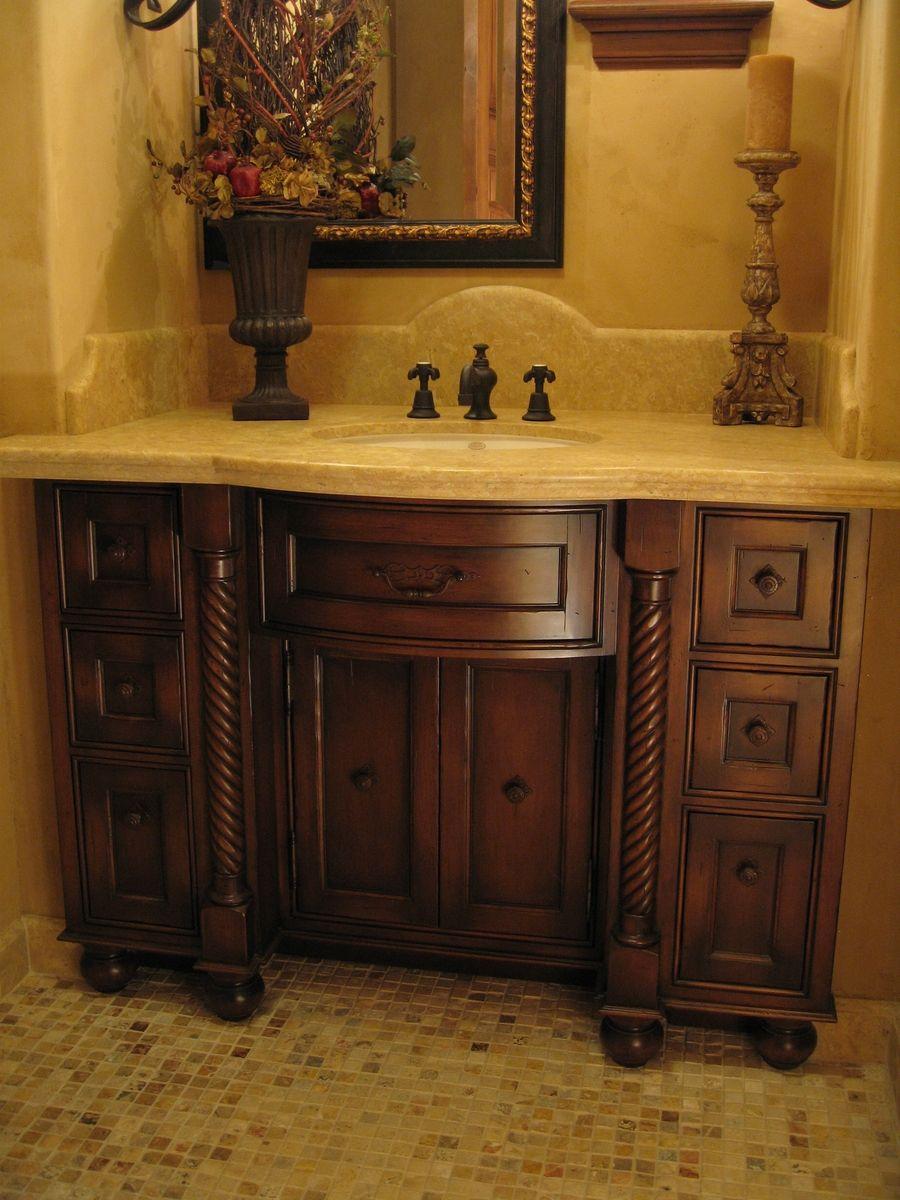 Hand Made Custom Distressed Alder Bow Front Bathroom Vanity By Ps Woodworking Custommade Com
