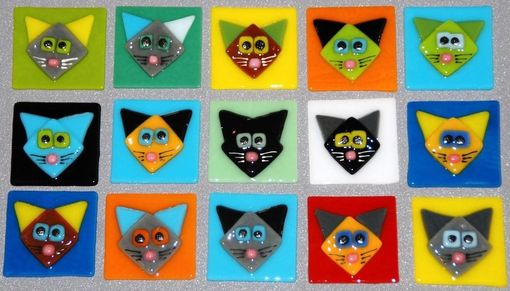 "Custom Made Cat Face Tiles, Tack Fused, Colorful And Fun, 2"" X 2"", Perfect For Mosaic Projects"