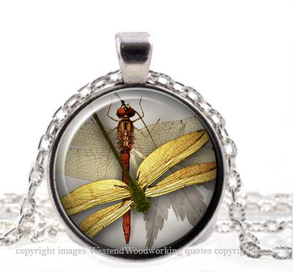 Custom Made Whimsical Vintage Steampunk Dragonfly, Steampunk Shabby Chic Nature Jewelry Pendant Necklace
