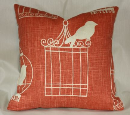 Custom Made Custom Designer Draperies: Duralee Birdcage On Melon Linen
