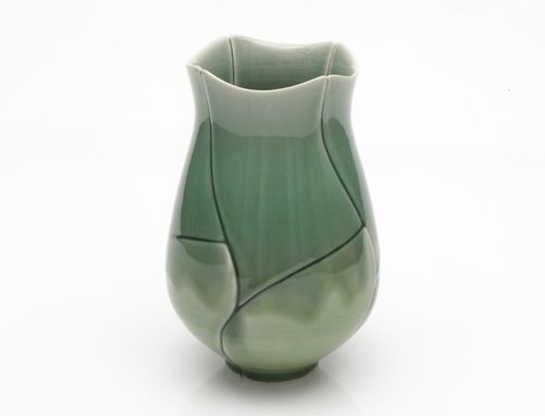 Custom Made Green Twisted Lotus Vase