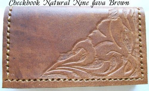 Custom Made Custom Leather Checkbook Cover With Natural 9 Design And In Java Brown