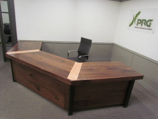 Custom Made Custom Walnut ,Maple And Steel Reception Desk