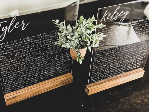Custom Made 2 Engraved Acrylic Signs With Wedding Vows.