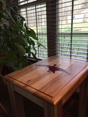 Custom Made Custom End Table- Hickory With Purple Heart Waterfowl Inlay And Accents