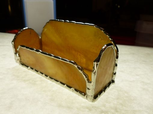 Custom Made Unique Amber Brown Stained Glass Business Card Holder