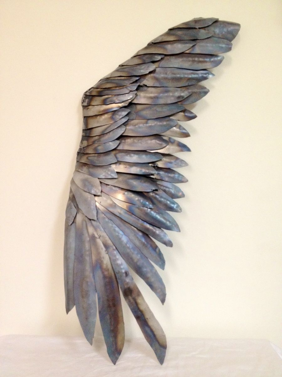 Hand Made Metal Wing Sculpture Wing And A Prayer By Fire
