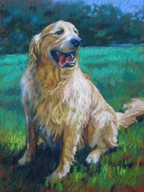 Custom Made Portrait Painting Of A Golden Retriever In Pastel, 12 X 9 Inchhes
