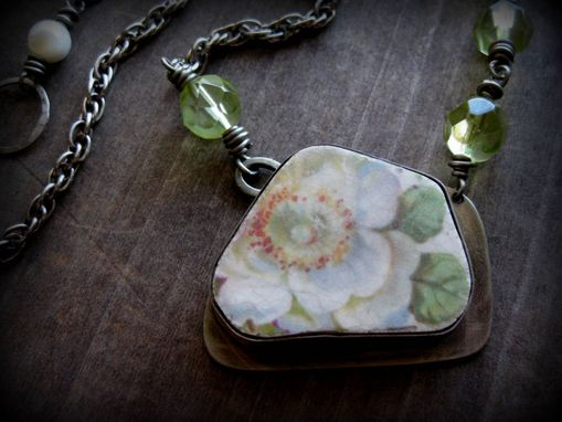"Custom Made Antique Platter Piece And Green Glass Bead Necklace ""The Promise Of Spring''"