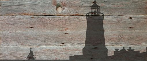 "Custom Made A Tiny Boat At Sea - Reclaimed Barn Wood - Rustic Wall Art 41"" X 15"""