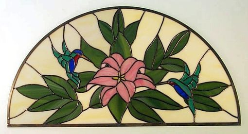 Custom Made Stained Glass Arched Hummingbird Transom
