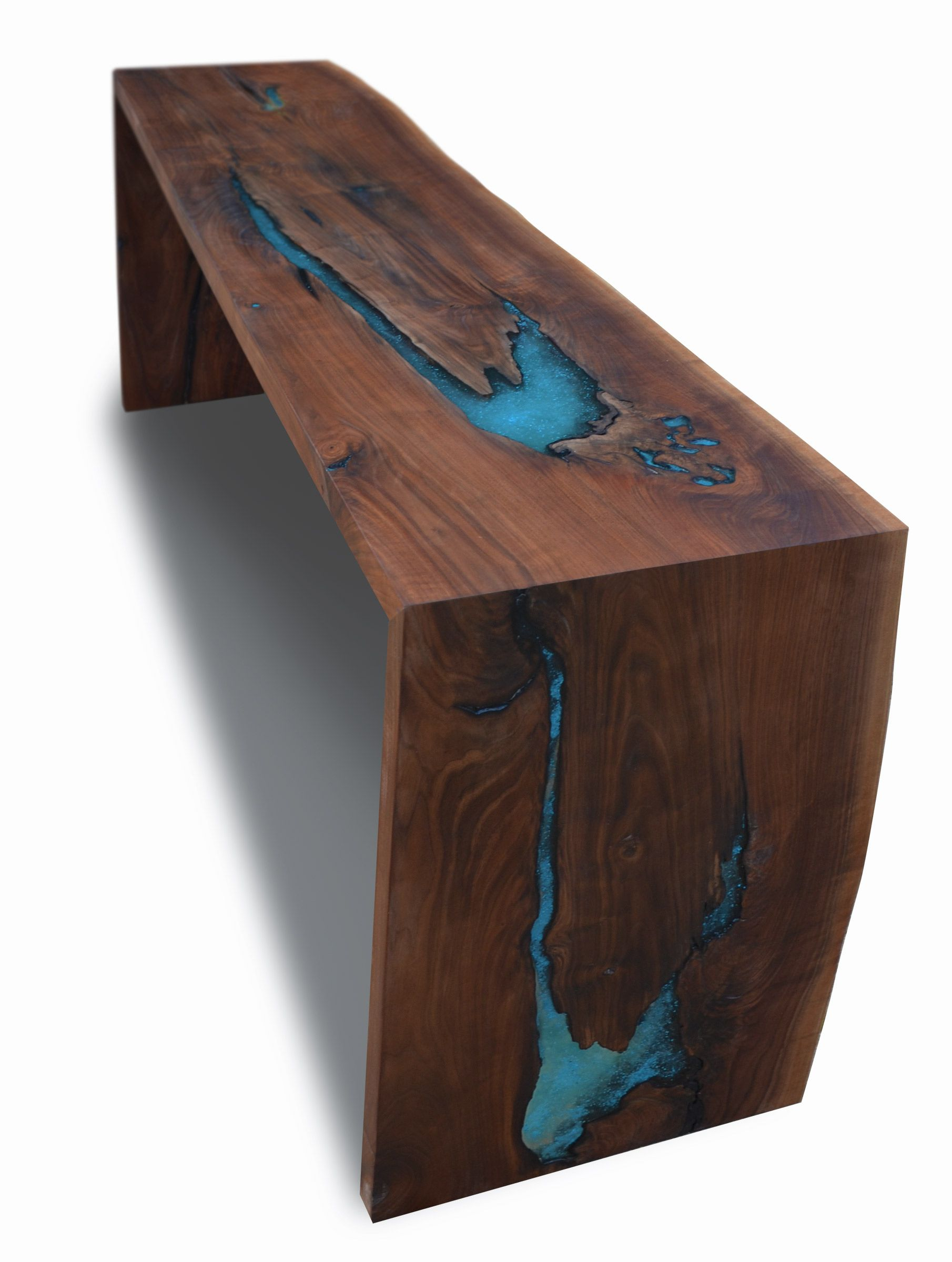 Custom Made Live Edge Walnut Epoxy Resin Turquoise Inlay Dining Console by  Abodeacious  9285d1a8a