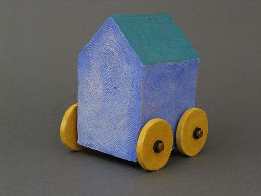 Custom Made Blue Toy House With Wheels