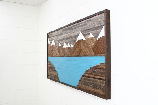 Handmade Glacier Mountain Landscape Wood Wall Art Reclaimed Wood