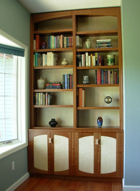 Custom Made Sapele And Curly Maple Bookcase And Cabinet