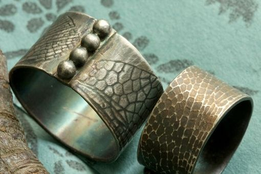 Custom Made Organic, Dragonfly, Cicada Wing, Patinaed, Sterling Silver Ring Set