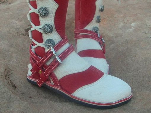 Custom Made Red And White Flat Soled Riders With Double Straps And Buckles