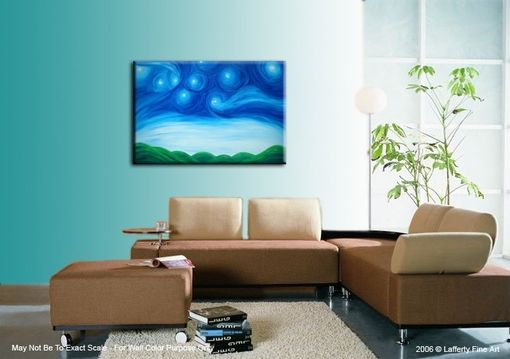 Custom Made Original Starry Night Painting Acrylic Blue Green Art Modern Abstract Landscape Textured Night