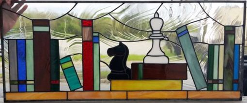 "Custom Made Stained Glass Windows - ""Unique Bookshelves"" (W-96)"