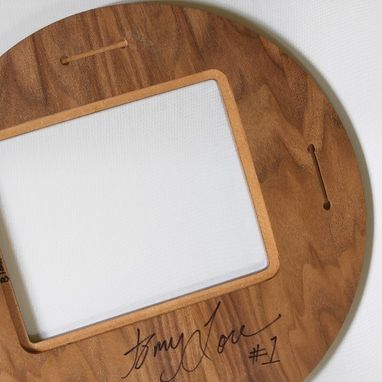 Custom Made Round Mid Century Modern Picture Frame Wood Walnut Veneer 4x6 Or 5x7
