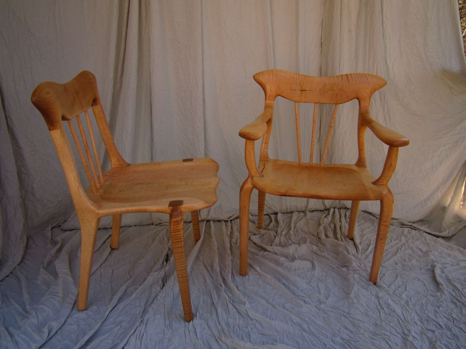 Hand Made Curly Maple Lyre Dining Chair Set by Bearkat Wood