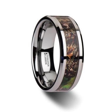 Custom Made Overgrowth Realistic Tree Camo Tungsten Carbide Wedding Band With Green Leaves - 8mm