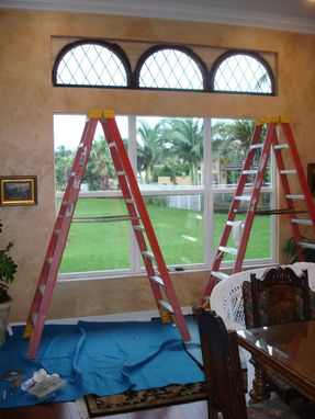 Custom Made Window Treatment Idea Using Simple Leaded Glass Panels