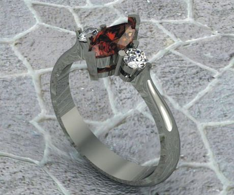 Custom Made 14 Kt White Gold Garnet And Diamond Engagement Ring