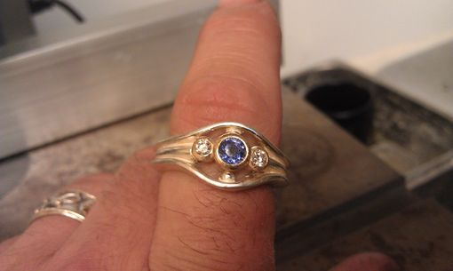 Custom Made Silver Ring With Sapphire And Diamond