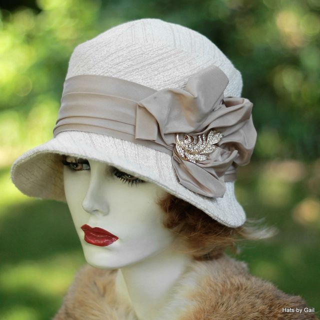 cloche hat hand crafted 1920s cloche hat in ivory and taupe heavy textured