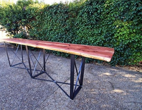 Custom Made 12-Ft Bar Table With Natural Edge Cedar And Custom Steel Base