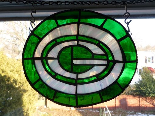 Custom Made Stained Glass Green Bay Packers Inspired Light Catcher