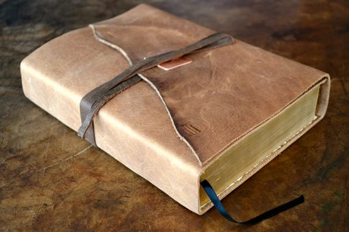 Custom Made Large Distressed Leather Bible Cover Custom Made To Order Copper (389o)