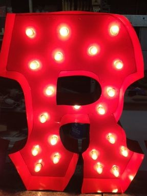 "Custom Made Letter R Carnival Light Fixture Marquee Light Fixture Metal 24"" Tall Letter For One Letter"
