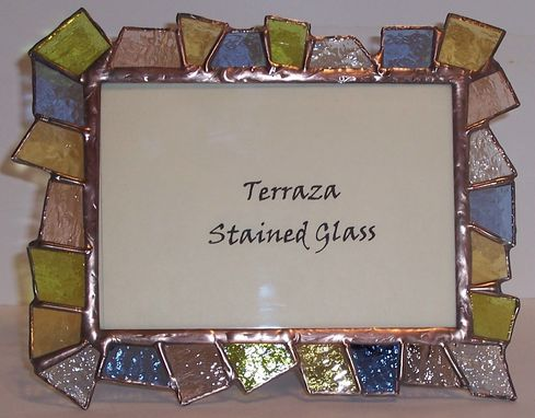 Custom Made Chunky Stained Glass Picture Frame 5 X 7 / Pastel Transparent Frame  (F-8)
