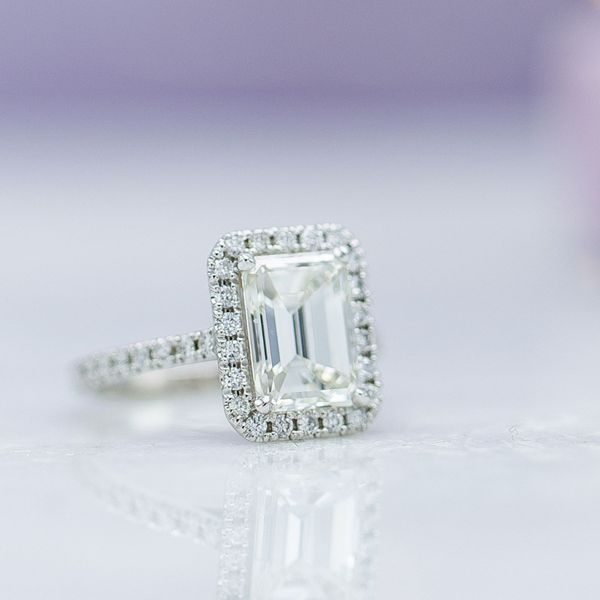 We recommend a higher color grade for larger diamonds, like this 2.8ct emerald cut, which would show its color more than a smaller stone.