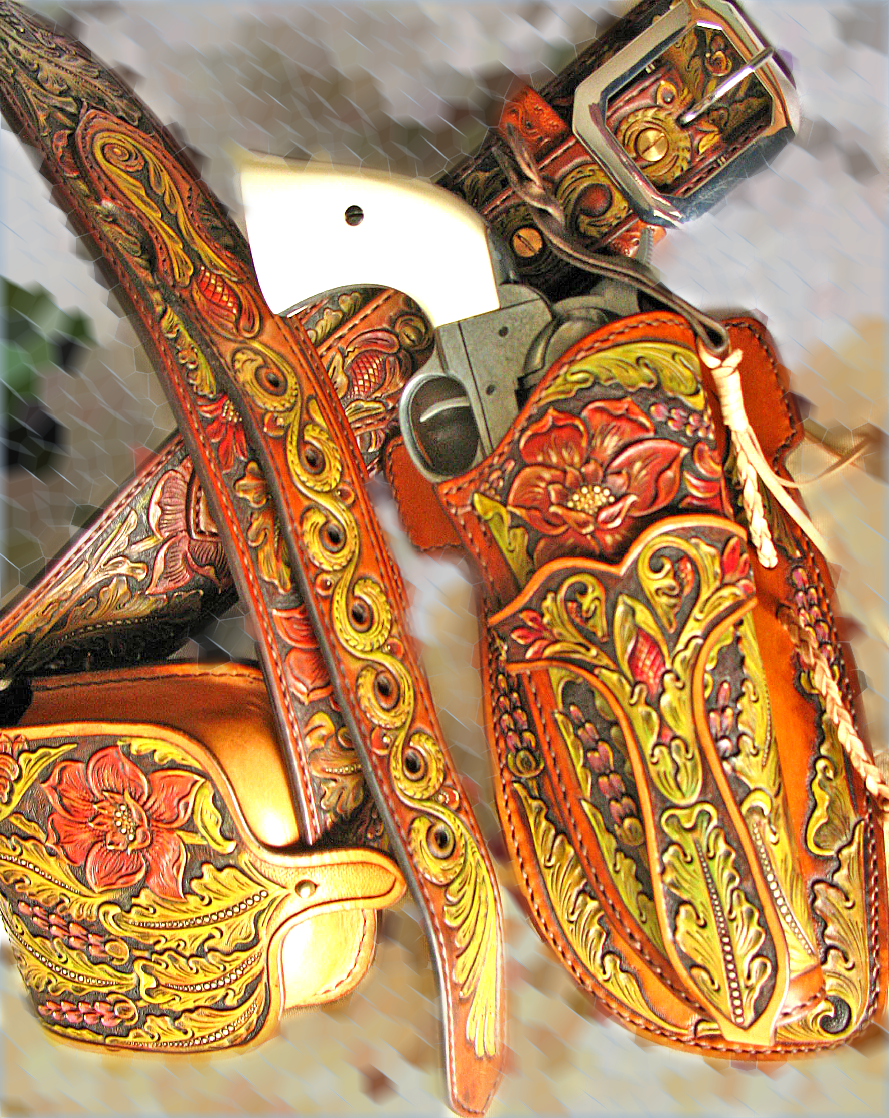 Buy A Hand Made Tooled Leather Gun Belt Sa 1873 Holster