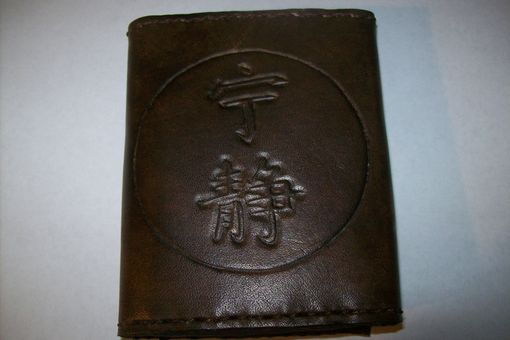 Custom Made Custom Leather Imperial Trifold Wallet With Serenity Symbol