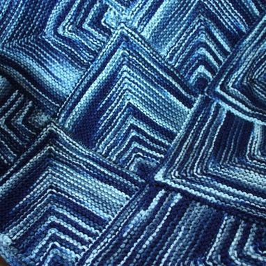 Custom Made Knit Baby Blanket - Unique - Dusk Blue Monaco Blue Mitre Square