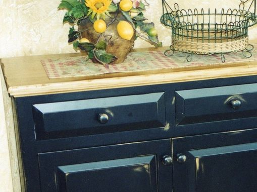 Custom Made Distressed Dining Table, Buffet, & Mirror