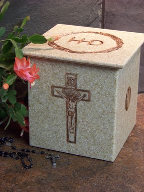 Custom Made Corian Urn With Crucifix