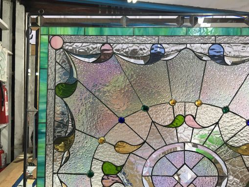 Custom Made Classic Teardrop & Jewels Stained Glass Window 2