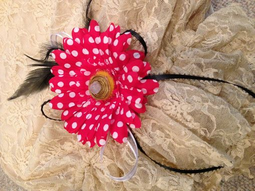 Custom Made Red And White Polka Dot Flower Barrette Hair Piece.