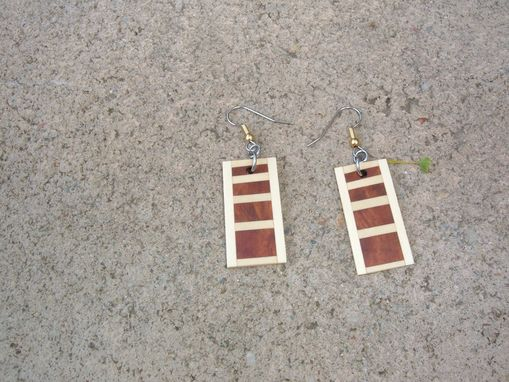 Custom Made Segmented Wood Earrings Of Redwood Burl And Holly, Very Lightweight..L016