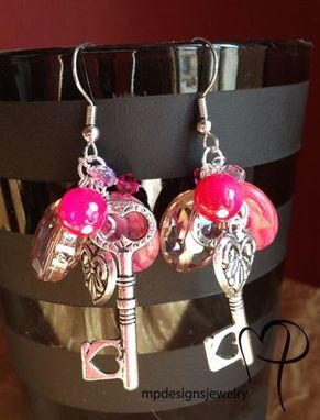 Custom Made Pink Explosion! Gemstone Key Charm Earrings
