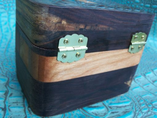 Custom Made Cedar And Walnut Hardwood Box With Leather Boot Inlay